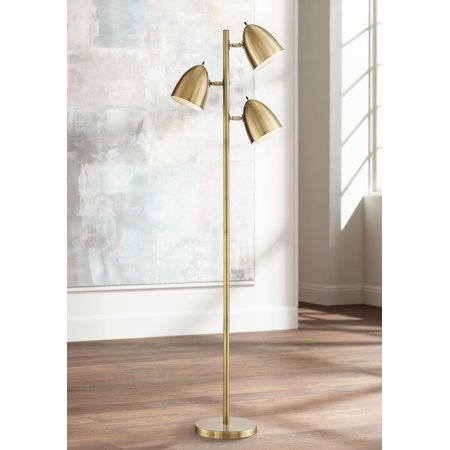 Style Dome Light (360 Lighting Mid Century Modern Floor Lamp Aged Brass 3-Light Tree Adjustable Dome Shades for Living Room Reading Bedroom Office)