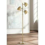360 Lighting Mid Century Modern Floor Lamp Aged Brass 3-Light Tree Adjustable Dome Shades for Living Room Reading Bedroom Office