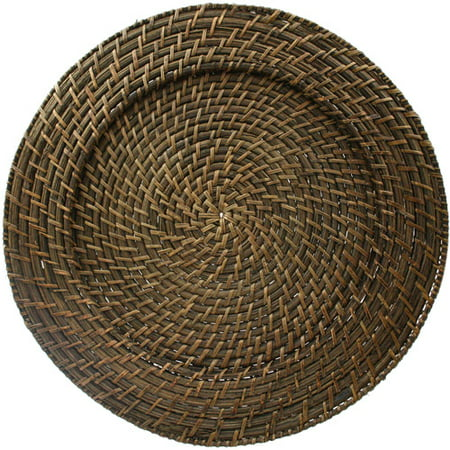 ChargeIt! by Jay Brick Brown Round Rattan Charger Plates, Set of 4 Round Platter Charger