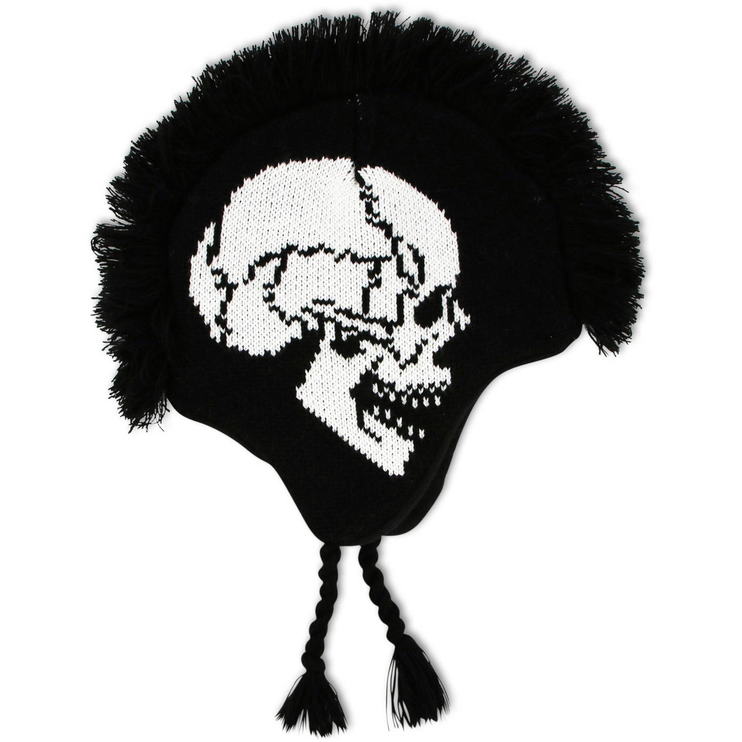 Image of ABG Accessories Big Boys Skull Acrylic Mohawk Style Winter Laplander Hat With Braids And Tassels