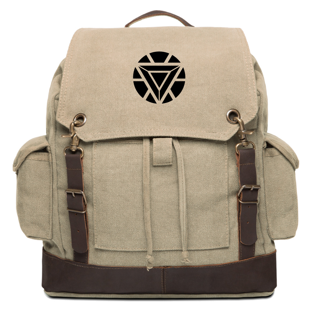 Iron Man Heart Vintage Canvas Rucksack Backpack with Leather Straps
