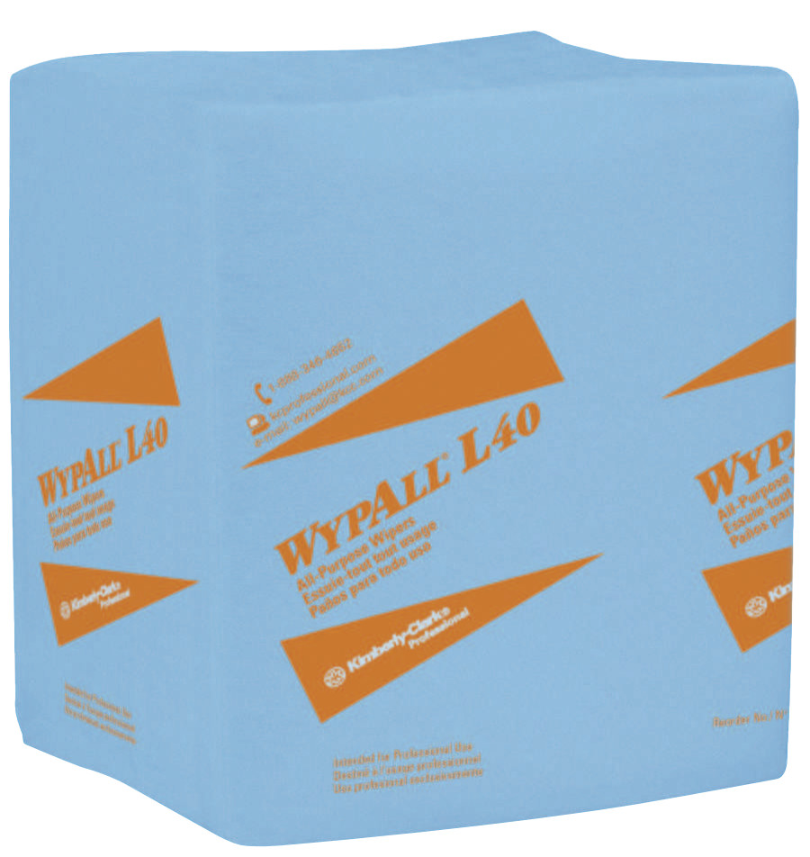 Kimberly-Clark Professional WypAll L40 Wipers, 1/4 Fold, Blue, 56 per pack