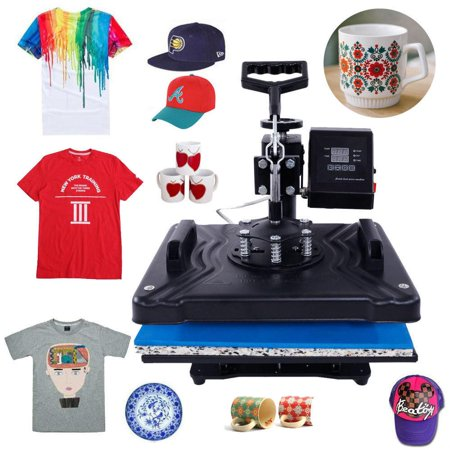 Ktaxon 5 In 1 Digital Power Control Transfer Sublimation Hot Heat Press Machine LCD Timer for T-Shirt/Mug/Plate/Hat/ Cap DIY Printer