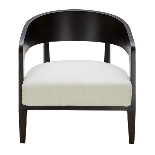 Lumisource Black and White Fabric and Wood Mesa Accent Chair by Overstock