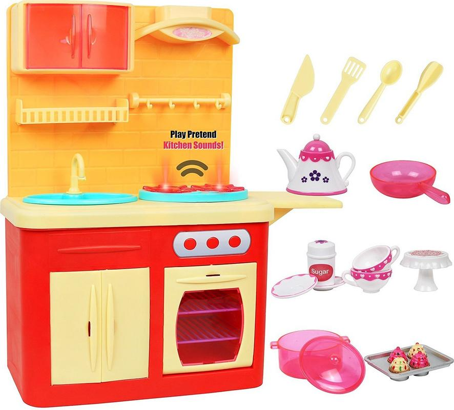 "Click N' Play 22 Piece, 18"" Doll Kitchen Play Station with Accessories, Lights and Sounds"