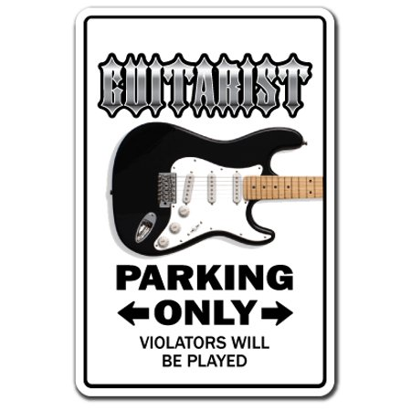 Electric Guitar novelty sticker | Indoor/Outdoor | Funny Home Décor for Garages, Living Rooms, Bedroom, Offices | SignMission Parking Guitarist Gift Gag Funny Rock Music Drum Wall Plaque Decoration (Drum Decorations)