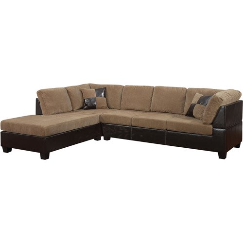 Leather Furniture Traveler Collection: Connell Collection Corduroy And Faux Leather Sectional