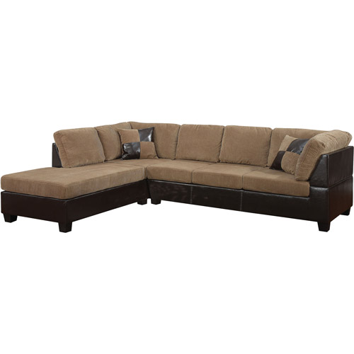 Connell Collection Corduroy And Faux Leather Sectional Sofa, Light Brown