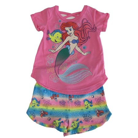Disney Little Girls Pink Ariel Little Mermaid T-Shirt 2 Pc Shorts Outfit](Ariel Outfit)