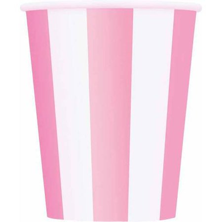 12oz Striped Paper Cups, Light Pink, 6ct