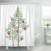PKNMT Christmas Tree Realistic Small Young Fir Trees Decorated Red Purple Waterproof Bathroom Shower Curtains Set 66x72 inch