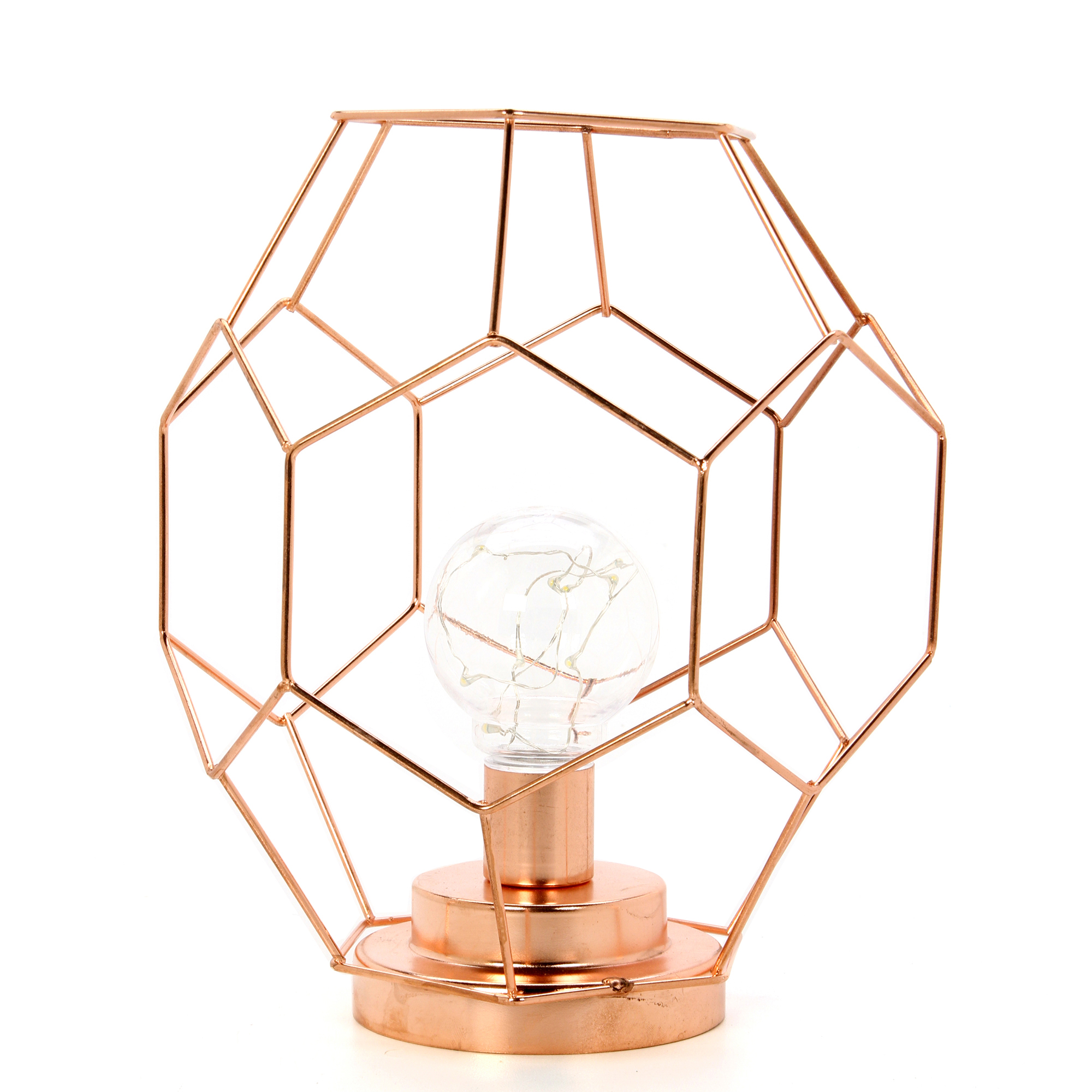 Mainstays LED Geometric Table Lamp, Rose Gold