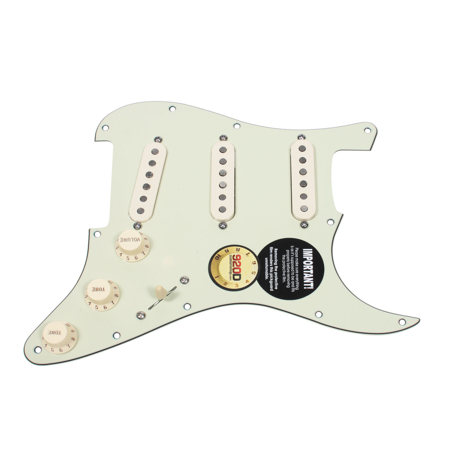 920D Loaded Strat Pickguard Klein Jazzy Cat Pickups 7 Way Switching MG AW by
