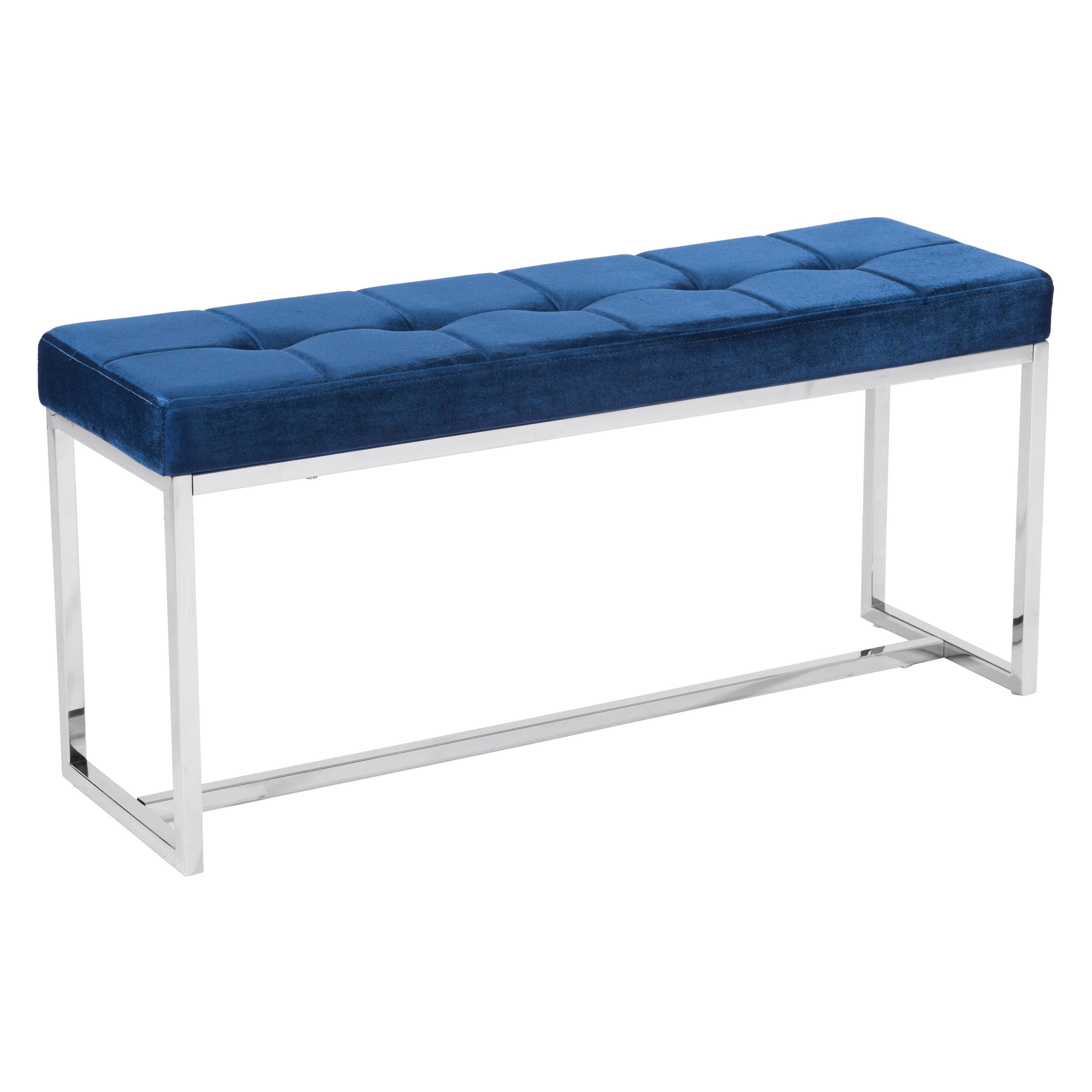 Zuo Modern Bench Part - 20: Zuo Synchrony Modern Bench in Cobalt Blue Velvet Finish 100195