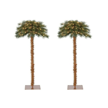 Island Breeze 5 Foot Pre-Lit Artificial Tropical Christmas Palm Tree (2 Pack) ()