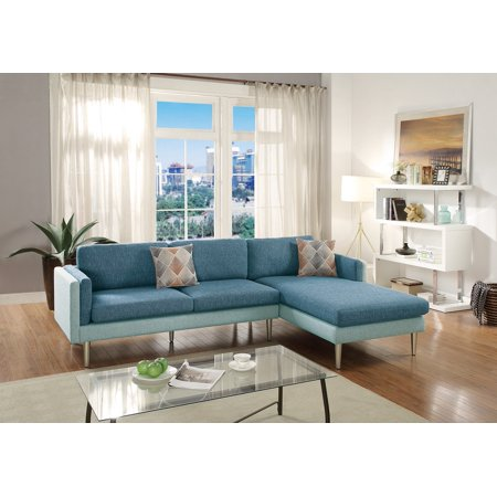 Sectional Sofa Blue / Aqua Dual Tone Sectional Reversible Chaise Sofa  Living Room Modern Metal Legs Couch in Cotton Blended Fabric