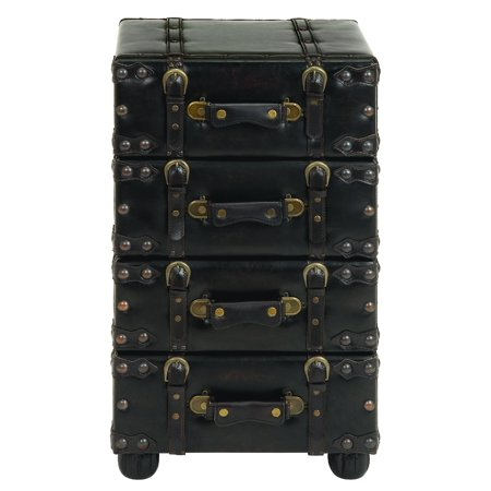 Wood Leather Side Chest With Dark Brown Tone Black Leather Chess Box
