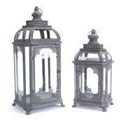 "Set of 2 Moroccan Hegira Distressed Iron and Glass Pillar Candle Holder Lanterns 25"""