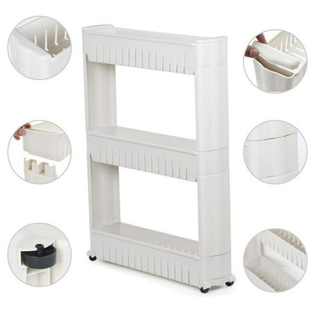 Glass Shelf Bathroom Shelving (3 Tiers Mobile Shelving Unit Slim Slide-Out Storage Tower Pull out Pantry Shelves Cart for Kitchen Bathroom Bedroom Laundry Room Narrow Places on Wheels White)