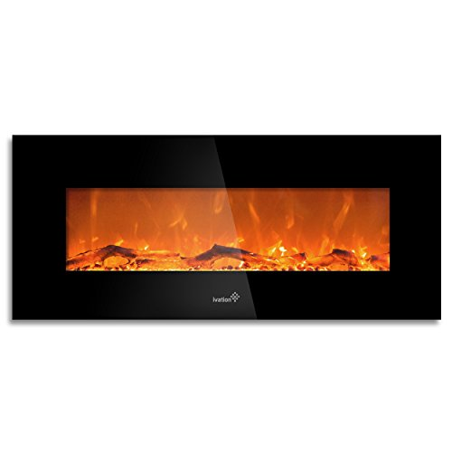 IVATION 50 Wall Mounted Glass Electric Fireplace w/ Built...
