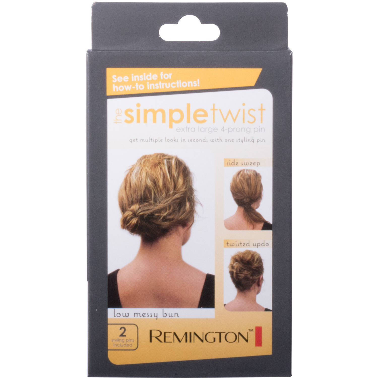 Remington The Simple Twist Extra Large 4-Prong Hair Styling Pins, 2 count