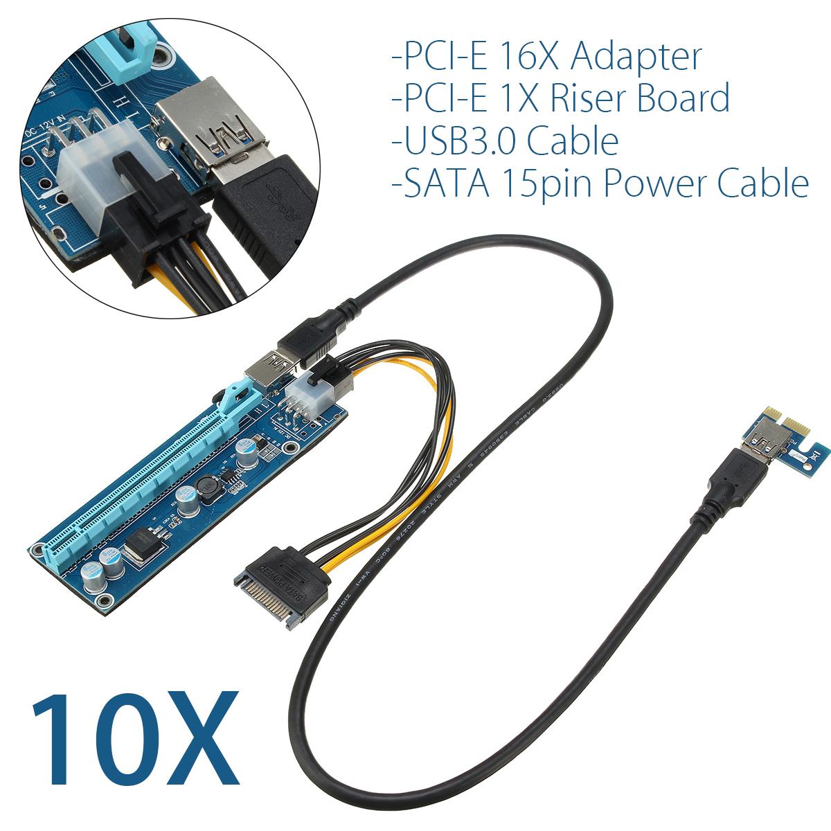 10set USB 3.0 PCI-E Express 1x to 16x Extender Riser Card Adapter Mining Bitcoin
