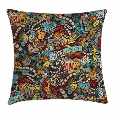 Doodle Throw Pillow Cushion Cover, Cinema Items Combined in an Abstract Style Popcorn Movie Reel The End Theatre Masks, Decorative Square Accent Pillow Case, 18 X 18 Inches, Multicolor, by Ambesonne