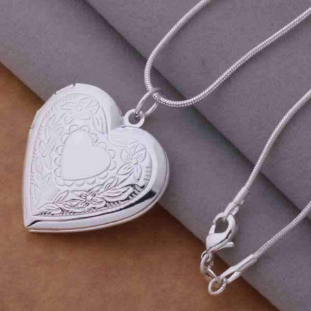 - ON SALE - Floral Design Stamped Sterling Silver Heart Locket Necklace Sterling Silver