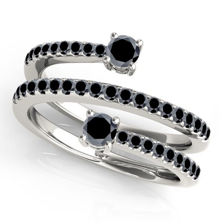 - 0.70Ct. Ttw Unique Swirl Design Black Diamond Ring In 10K White Gold