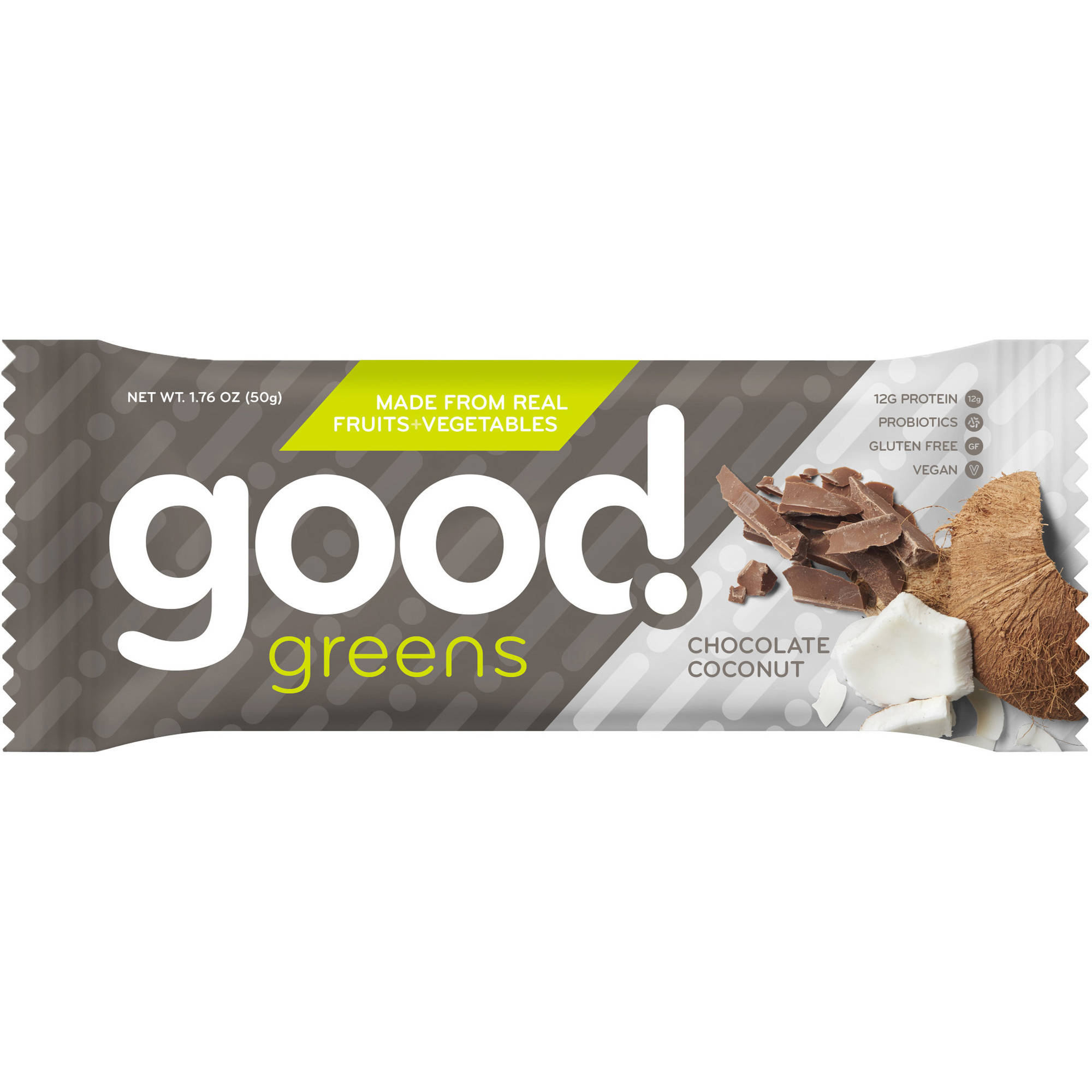 Good Greens Chocolate Coconut Nutrition Bars, 1.76 oz, 12 count