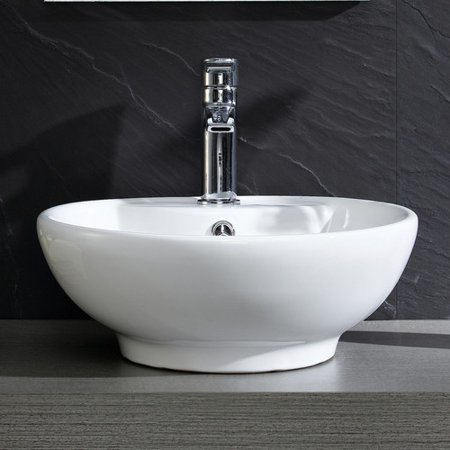 Fine Fixtures Modern Ceramic Circular Vessel Bathroom Sink with Overflow - Modern Bathroom Sinks