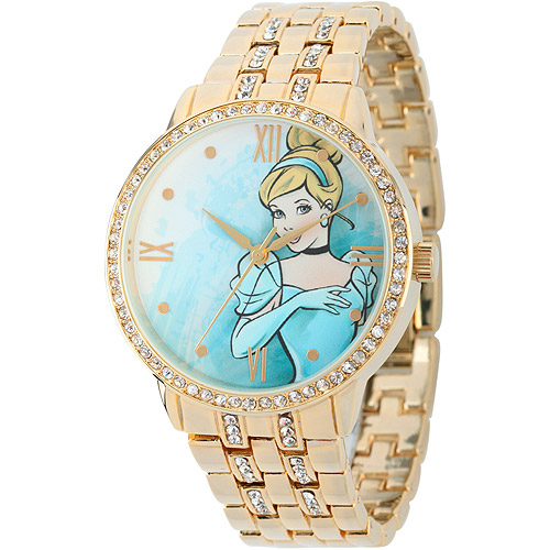 Disney Cinderella Women's Alloy Case Watch, Gold Bracelet