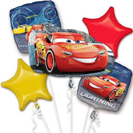 Disney Car Lightning McQueen Authentic Licensed Theme Foil Balloon Bouquet - Cars Birthday Theme Ideas