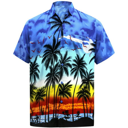 Hawaiian Party Shirts (Hawaiian Shirt Mens Beach Aloha Camp Party Casual Holiday Short Sleeve Button Down Pocket Tropical Palm Tree Print)
