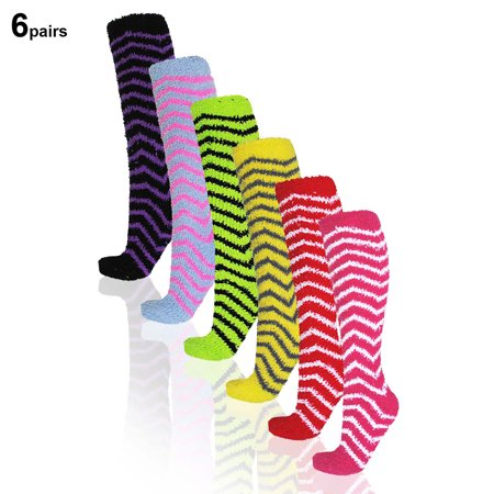 Basico Soft Warm Microfiber Fuzzy Winter Socks Knee High 6pairs/12pairs(1pack)  ()