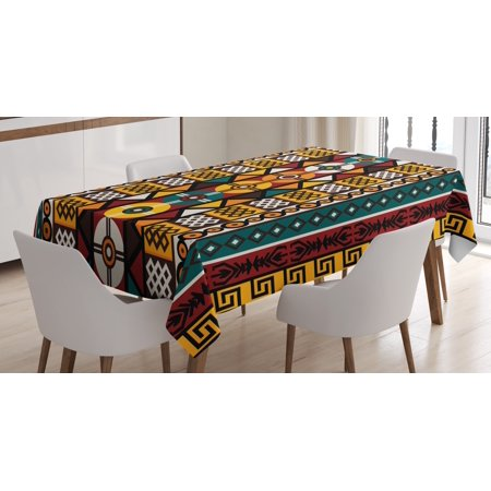 Kente Pattern Tablecloth, Vertical Borders Inspired by Timeless African Cultures Geometrical Design, Rectangular Table Cover for Dining Room Kitchen, 60 X 90 Inches, Multicolor, by Ambesonne