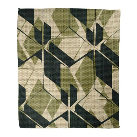 ASHLEIGH Throw Blanket Warm Cozy Print Flannel Khaki Pattern Abstract Geometric Construction Printed on Canvas Camouflage Comfortable Soft for Bed Sofa and Couch 50x60 - Soda Camo