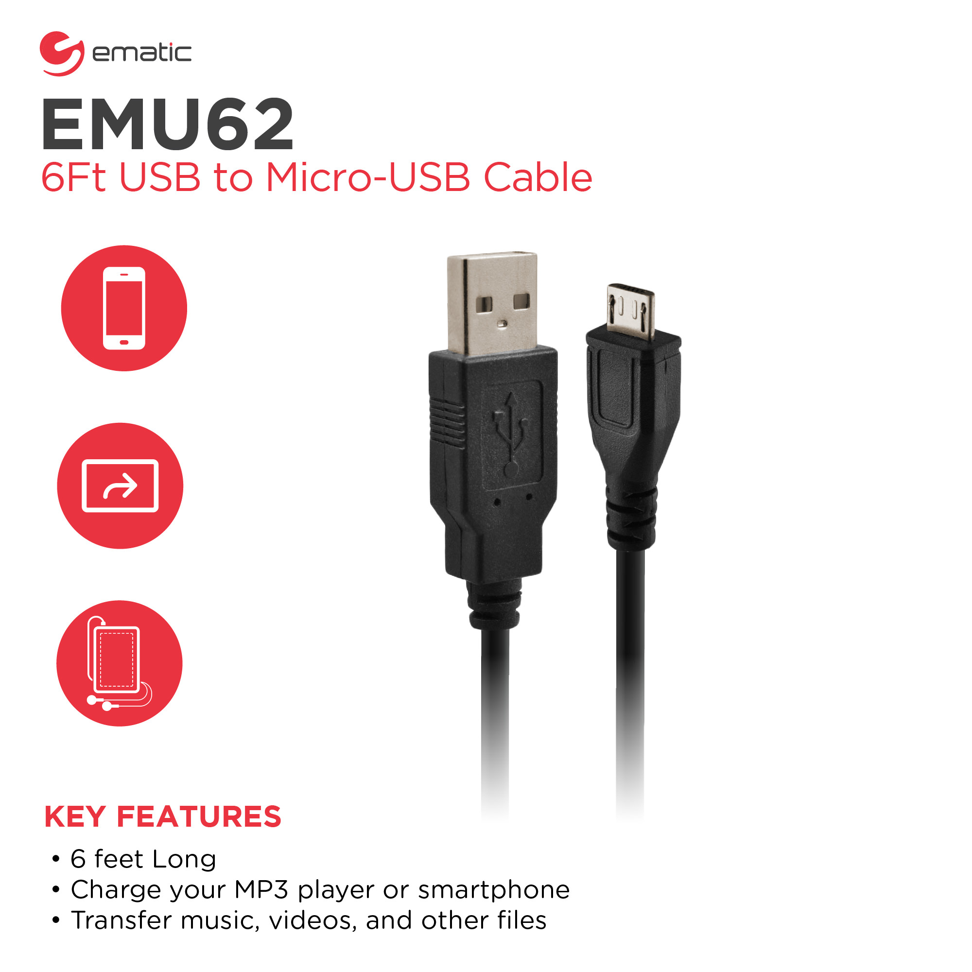 Ematic USB to Micro-USB Cable (6 Ft)