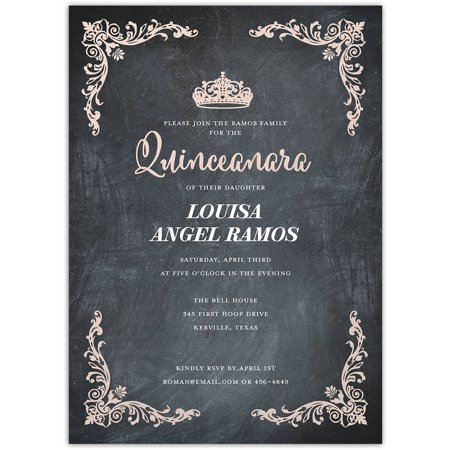 Quinceanara Crown Birthday Quinceanara (Rose Printable Invitations)