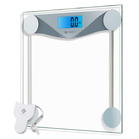 . Etekcity Digital Body Weight Bathroom Scale with Body Tape Measure  8mm  Tempered Glass  400 Pounds Scales
