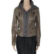 Women's Jacket Motorcycle Leather Hoodie XS