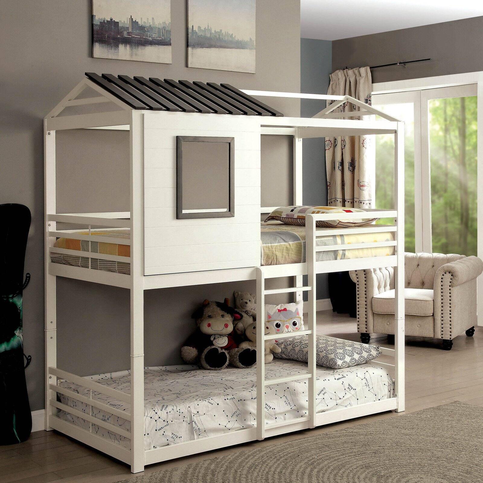 Furniture Of America Hansel Wood Veneer Bunk Bed Low Profile Twin Over Twin White Walmart Com Walmart Com
