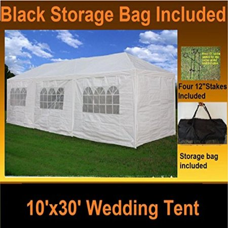 10'x30' Wedding Tent White - Party Gazebo Pavilion Catering Carport Shelter