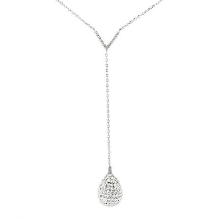 Ava Crystal Teardrop Sterling Silver Necklace, Y Necklace, CZ Crystal Pendant, Chain Necklace, Clasp Necklace, Drop Necklace, Best Necklace for Women, Teens, Girls - msrp