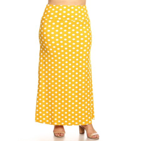 Lightweight Velvet Skirt (MOA COLLECTION Women's Plus Size Casual Polka Dot Lightweight Elastic Maxi Skirt/Made in USA )