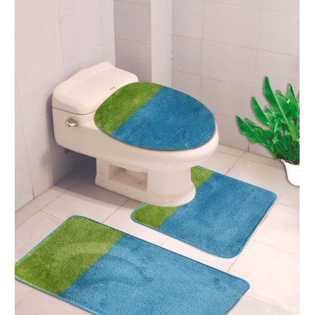 3 Pc 7 Turquoise Lime High Quality Jacquard Bathroom