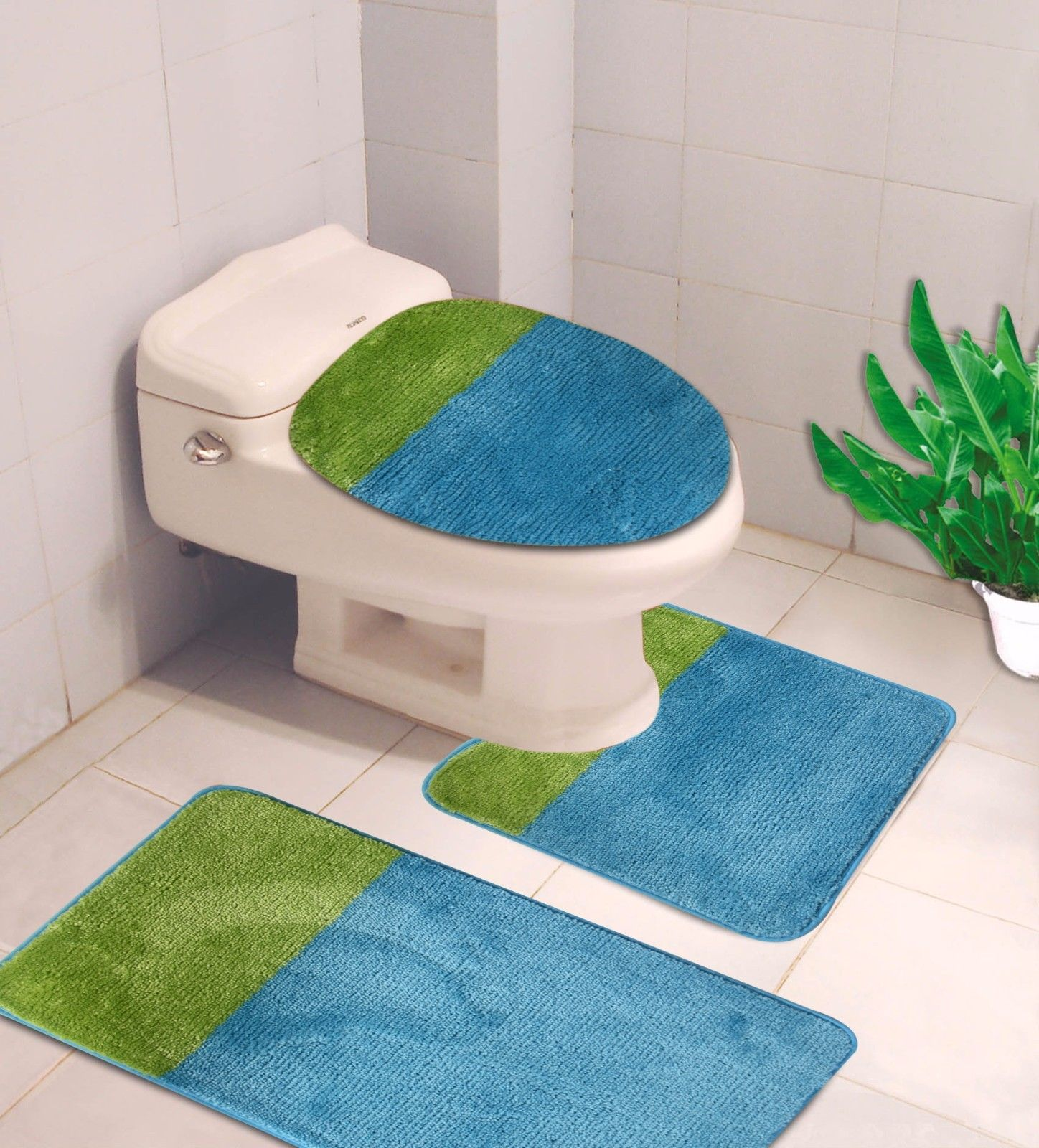 """3-PC (#7) Turquoise/Lime HIGH QUALITY Jacquard Bathroom Bath Rug Set Washable Anti Slip Rug 18""""x28"""", Contour Mat 18""""x18"""" and Toilet Seat Lid Cover 18""""x19"""" with Non-Skid Rubber Back"""