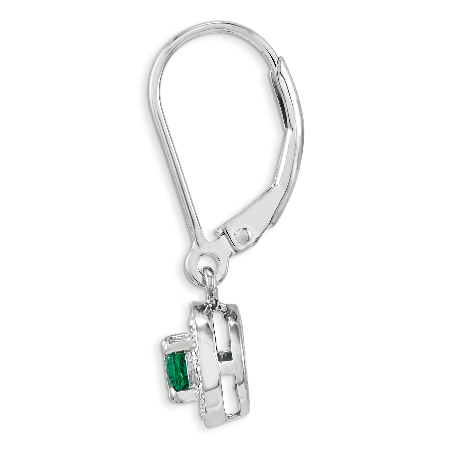925 Sterling Silver Diamond Created Green Emerald Leverback Earrings Lever Back Set Drop Dangle Birthstone May Fine Jewelry Gifts For Women For Her - image 2 of 8