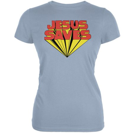 Jesus Saves Inspired By Keith Moon Light Blue Juniors Soft T Shirt