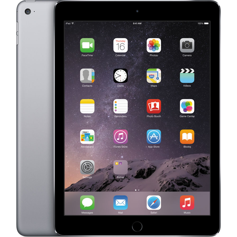 "Apple iPad Air 2nd Gen 128GB Wi-Fi 9.7"" Retina Tablet PC (Space Gray) - MGTX2LL/A (Manufacturer Refurbished)"